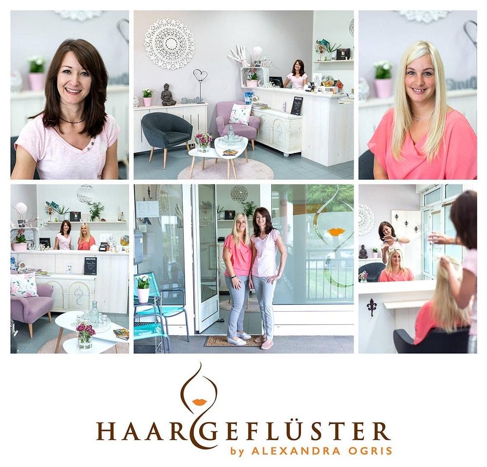Fotocollage von Haargeflüster, man sieht die Inhaberinnen in ihrem Geschäft, das mit weißen Möbeln eingerichtet ist