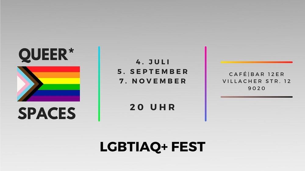 Plakat für die Veranstaltungen Queer Spaces in Klagenfurt