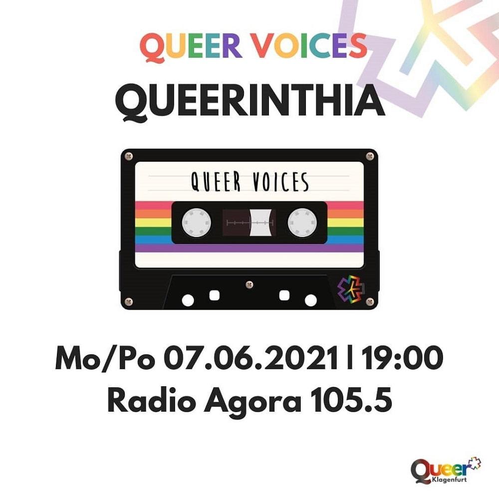 Zeichnung einer Kassette mit Aufschrift Queer Voices und Radio Agora