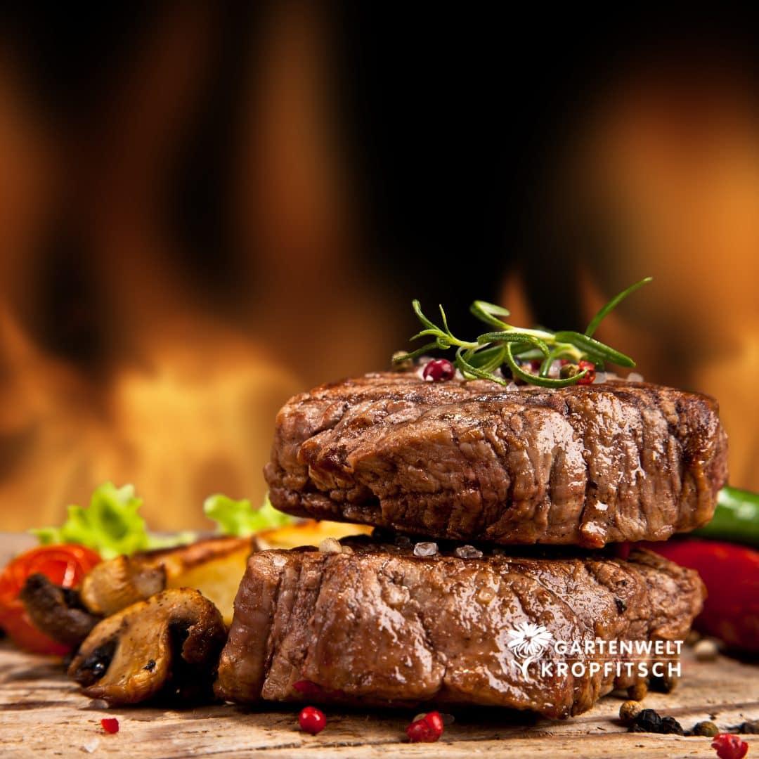 zwei saftig gegrillte Steaks mit einem professionellen Griller von der Gartenwelt Kropfitsch in Klagenfurt, garniert mit Rosmarin und Pilzen