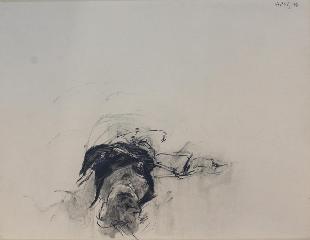 """Alpen-Adria-Galerie - """"Akt im Hemd"""" - Graphit auf Papier von Paul Kulnig aus dem Jahr 1976, aus der Kunstsammlung der LH Klagenfurt am Wörthersee (c) Paul Kulnig, Alpen-Adria-Galerie"""