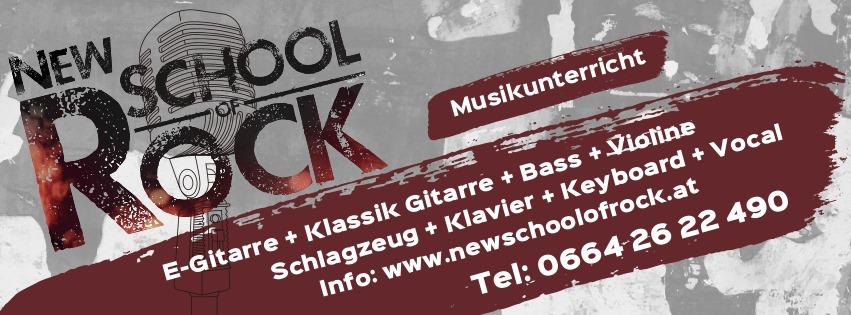 Plakat der New School of Rock in Klagenfurt in grau und dunkelrot mit den Informationen, welche Kurse belegt werden können: E-Gitarre, Klassik Gitarre, Bass, Violine, Schlagzeug, Klavier, Keyboard, Vocal und die Telefonnummer für den Kontakt